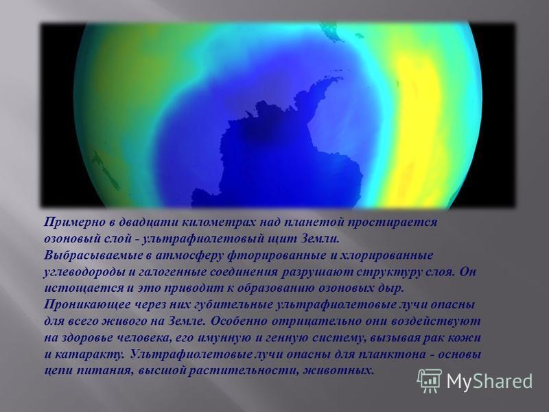 Примерно в двадцати километрах над планетой простирается озоновый слой - ультрафиолетовый щит Земли. Выбрасываемые в атмосферу фторированные и хлорированные углеводороды и галогенные соединения разрушают структуру слоя. Он истощается и это приводит к