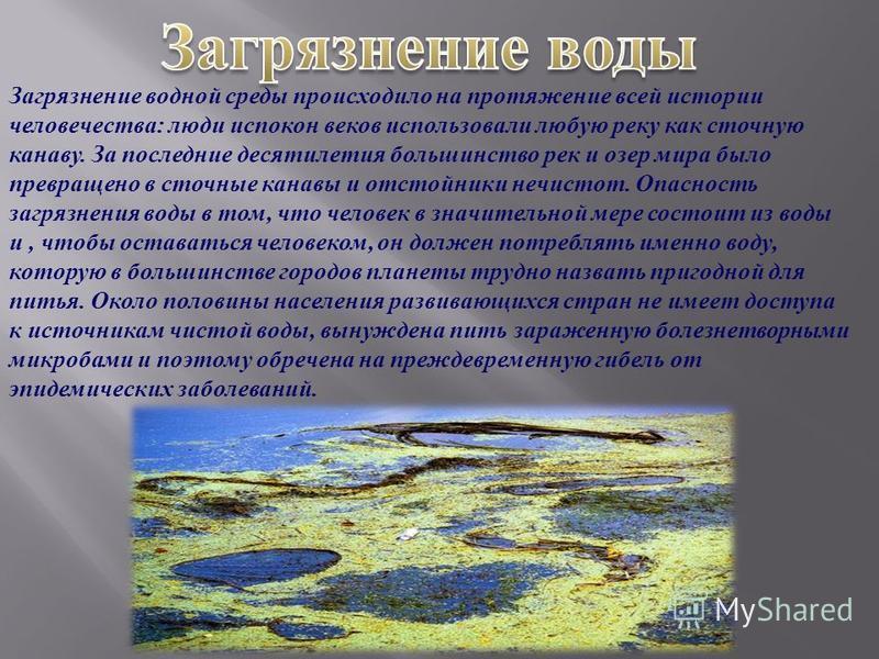 Загрязнение водной среды происходило на протяжение всей истории человечества : люди испокон веков использовали любую реку как сточную канаву. За последние десятилетия большинство рек и озер мира было превращено в сточные канавы и отстойники нечистот.