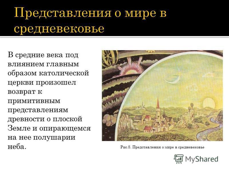 Рис.8. Представления о мире в средневековье В средние века под влиянием главным образом католической церкви произошел возврат к примитивным представлениям древности о плоской Земле и опирающемся на нее полушарии неба.