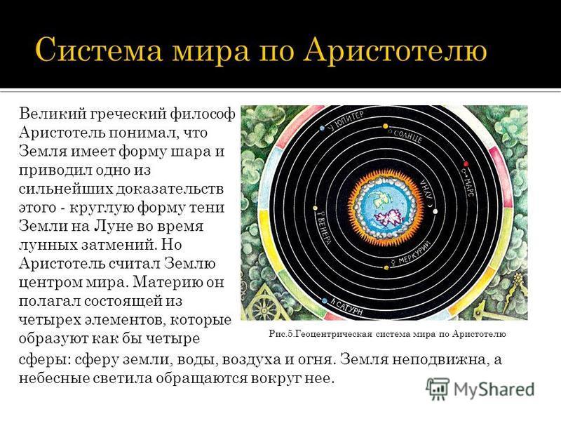 Рис.5. Геоцентрическая система мира по Аристотелю Великий греческий философ Аристотель понимал, что Земля имеет форму шара и приводил одно из сильнейших доказательств этого - круглую форму тени Земли на Луне во время лунных затмений. Но Аристотель сч