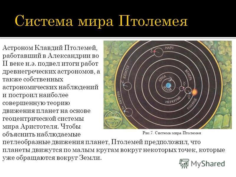 Рис.7. Система мира Птолемея Астроном Клавдий Птолемей, работавший в Александрии во II веке н.э. подвел итоги работ древнегреческих астрономов, а также собственных астрономических наблюдений и построил наиболее совершенную теорию движения планет на о
