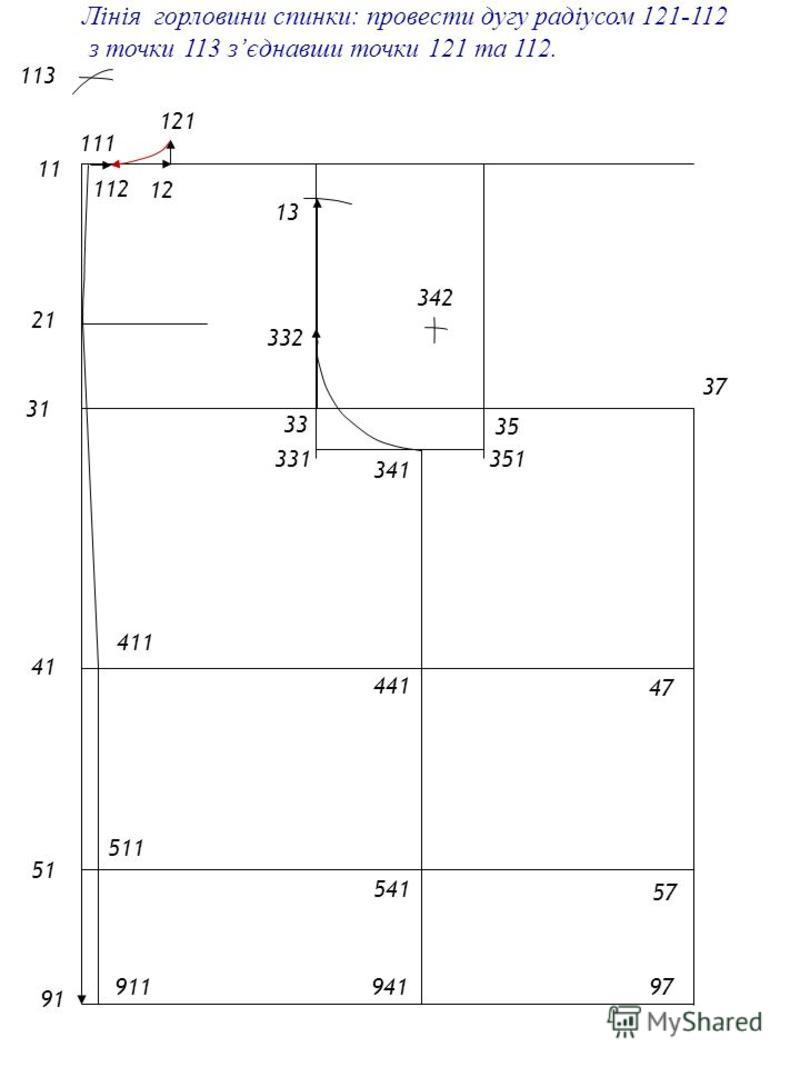 2121 1 4141 5151 9191 31 33 35 57 47 37 97 13 331 341 941 541 441 332 342 111 411 911 511 12 112 121 Лінія горловини спинки: провести дугу радіусом 121-112 з точки 113 зєднавши точки 121 та 112. 113 351