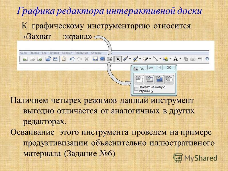 Графика редактора интерактивной доски К графическому инструментарию относится «Захват экрана» Наличием четырех режимов данный инструмент выгодно отличается от аналогичных в других редакторах. Осваивание этого инструмента проведем на примере продуктив
