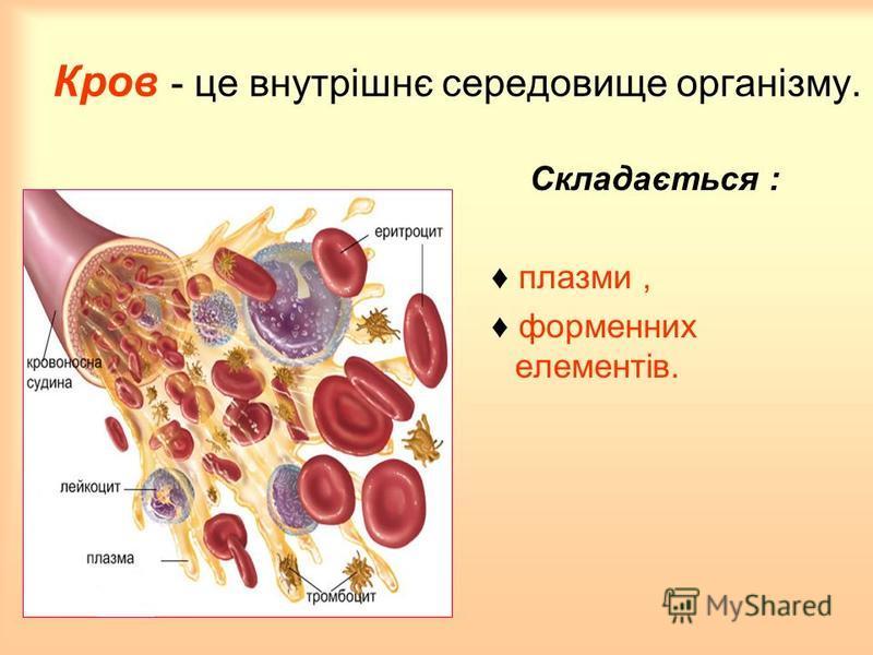 Кров - це внутрішнє середовище організму. Складається : плазми, форменних елементів.