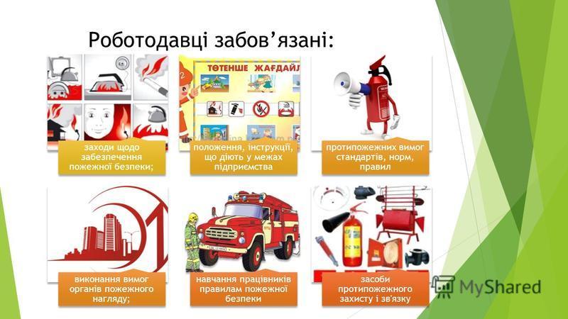 Роботодавці забовязані: заходи щодо забезпечення пожежної безпеки; положення, інструкції, що діють у межах підприємства протипожежних вимог стандартів, норм, правил виконання вимог органів пожежного нагляду; навчання працівників правилам пожежної без