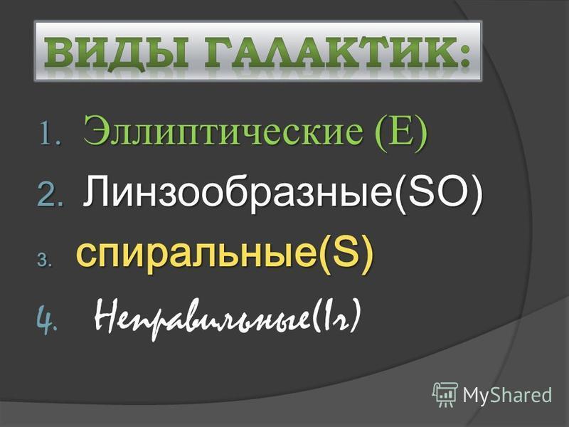 1. Эллиптические (E) 2. Линзообразные(SO) 3. спиральные(S) 4. Неправильные(Ir)
