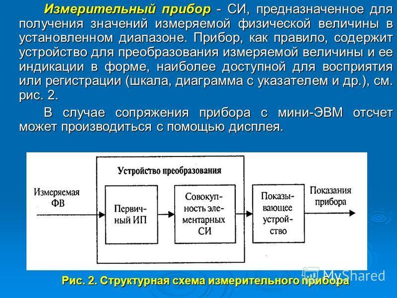 Рис. 2. Структурная схема измерительного прибора Измерительный прибор - СИ, предназначенное для получения значений измеряемой физической величины в установленном диапазоне. Прибор, как правило, содержит устройство для преобразования измеряемой величи