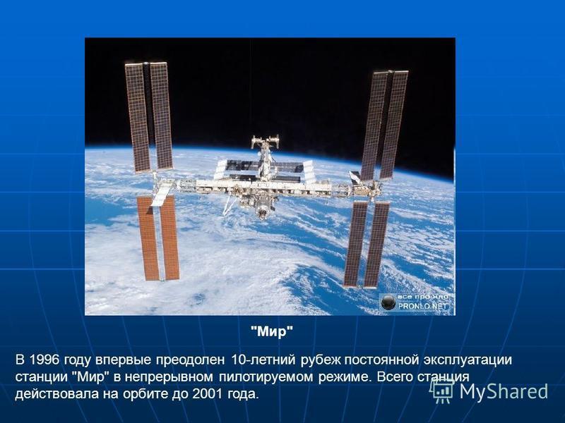 В 1996 году впервые преодолен 10-летний рубеж постоянной эксплуатации станции Мир в непрерывном пилотируемом режиме. Всего станция действовала на орбите до 2001 года. Мир