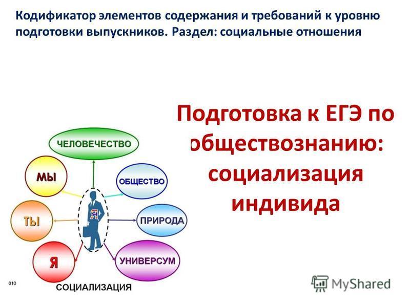 Подготовка к ЕГЭ по обществознанию: социализация индивида Кодификатор элементов содержания и требований к уровню подготовки выпускников. Раздел: социальные отношения