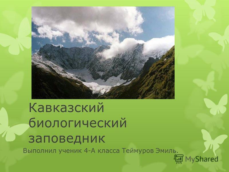Кавказский биологический заповедник Выполнил ученик 4-А класса Теймуров Эмиль.