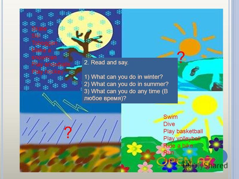 2. Read and say. 1) What can you do in winter? 2) What can you do in summer? 3) What can you do any time (В любое время)? Skate Ski Toboggan Make a snowman Play snowballs Play hockey Swim Dive Play basketball Play volleyball Ride a bike Run Jump ? ?