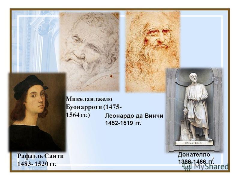 3 Рафаэль Санти 1483- 1520 гг. Микеланджело Буонарроти (1475- 1564 гг.) Леонардо да Винчи 1452-1519 гг. Донателло 1386-1466 гг.