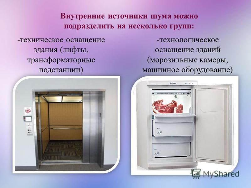 Внутренние источники шума можно подразделить на несколько групп: -техническое оснащение здания (лифты, трансформаторные подстанции) -технологическое оснащение зданий (морозильные камеры, машинное оборудование)