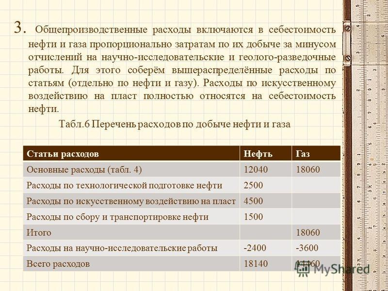 3. Общепроизводственные расходы включаются в себестоимость нефти и газа пропорционально затратам по их добыче за минусом отчислений на научно-исследовательские и геолого-разведочные работы. Для этого соберём вышераспределённые расходы по статьям (отд