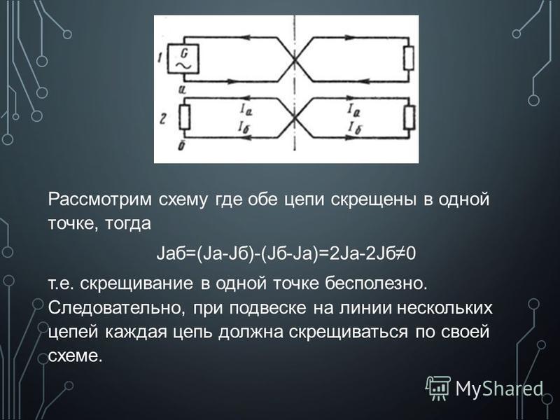 Рассмотрим схему где обе цепи скрещены в одной точке, тогда Jаб=(Ja-Jб)-(Jб-Jа)=2Ja-2Jб 0 т.е. скрещивание в одной точке бесполезно. Следовательно, при подвеске на линии нескольких цепей каждая цепь должна скрещиваться по своей схеме.