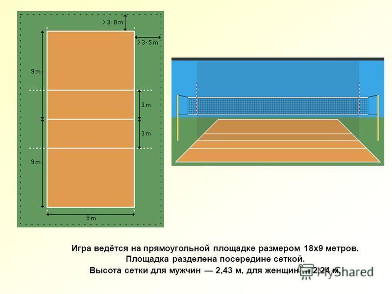 Игра ведётся на прямоугольной площадке размером 18 х 9 метров. Площадка разделена посередине сеткой. Высота сетки для мужчин 2,43 м, для женщин 2,24 м.