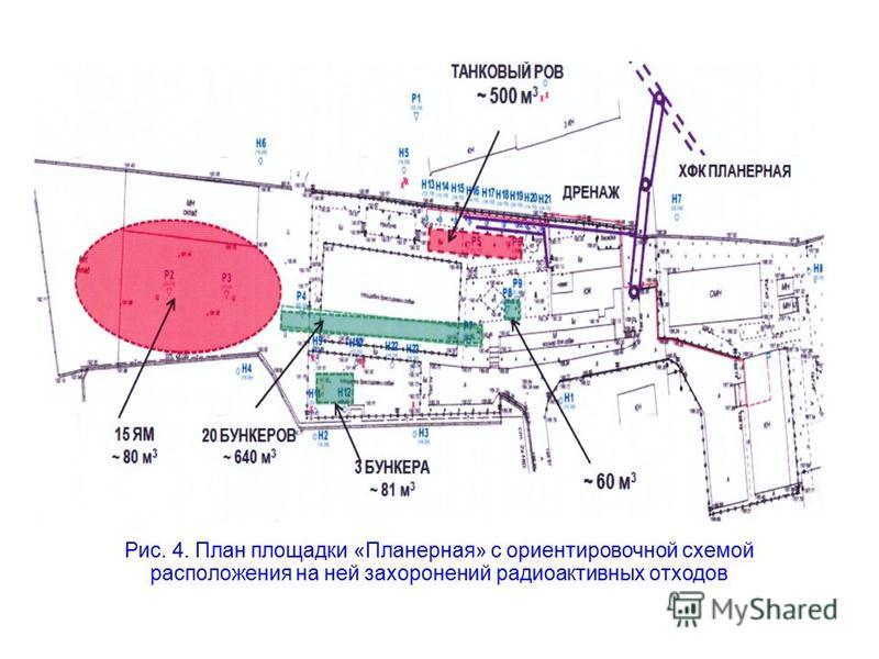 Рис. 4. План площадки «Планерная» с ориентировочной схемой расположения на ней захоронений радиоактивных отходов