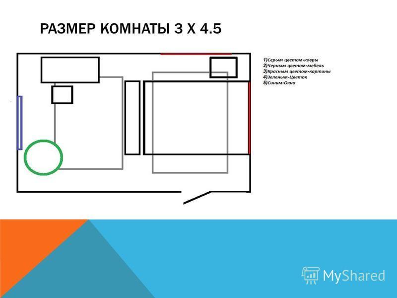 РАЗМЕР КОМНАТЫ 3 X 4.5