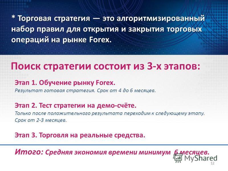 Поиск стратегии состоит из 3-х этапов: * Торговая стратегия это алгоритмизированный набор правил для открытия и закрытия торговых операций на рынке Forex. 12 Этап 1. Обучение рынку Forex. Результат готовая стратегия. Срок от 4 до 6 месяцев. Этап 2. Т