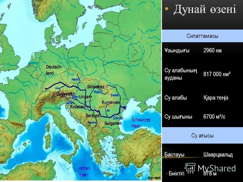 Дунай өзені Сипаттамасы Ұ зынды ғ ы2960 км Су алабыны ң ауданы 817 000 км² Су алабы Қ ара те ң із Су шы ғ ыны6700 м³/с Су а ғ ысы БастауыШварцвальд · Биіктігі678 м
