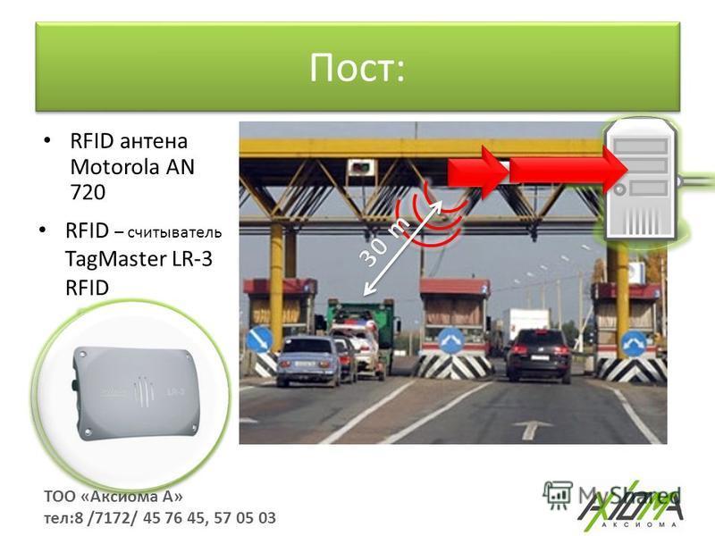 Пост: ТОО «Аксиома А» тел:8 /7172/ 45 76 45, 57 05 03 RFID антенна Motorola AN 720 RFID – считыватель TagMaster LR-3 RFID