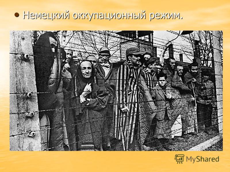 Немецкий оккупационный режим. Немецкий оккупационный режим.