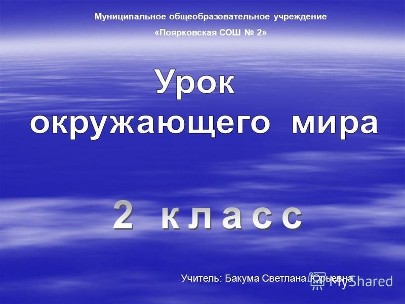 Муниципальное общеобразовательное учреждение «Поярковская СОШ 2» Учитель: Бакума Светлана Юрьевна