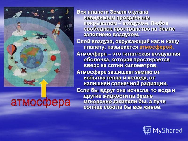 Вся планета Земля окутана невидимым прозрачным покрывалом – воздухом. Любое свободное пространство на Земле заполнено воздухом. Слой воздуха, окружающий нас и нашу планету, называется атмосферой. Атмосфера – это гигантская воздушная оболочка, которая
