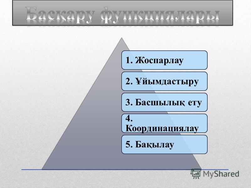 1. Жоспарлау2. Ұйымдастыру3. Басшылық ету 4. Координациялау 5. Бақылау