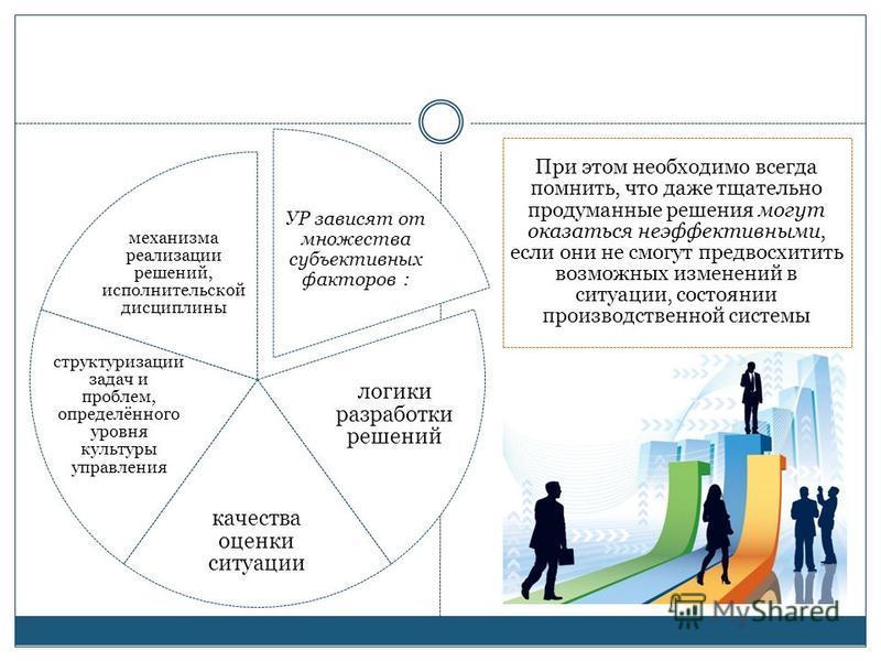 УР зависят от множества субъективных факторов : логики разработки решений качества оценки ситуации структуризации задач и проблем, определённого уровня культуры управления механизма реализации решений, исполнительской дисциплины При этом необходимо в