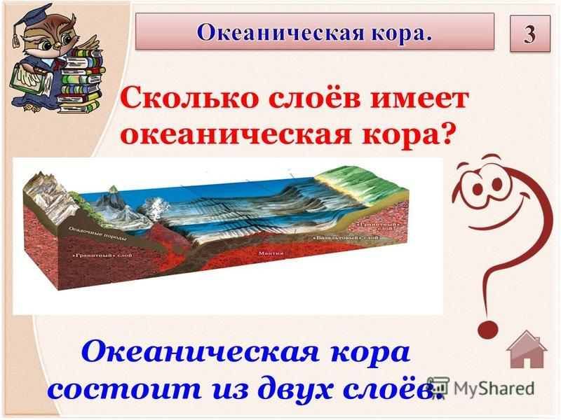 Океаническая кора состоит из двух слоёв. Сколько слоёв имеет океаническая кора?