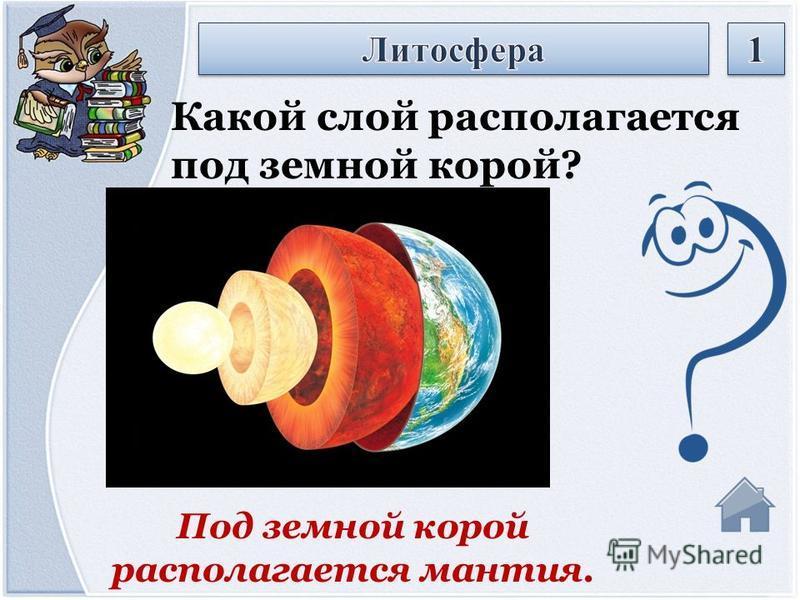 Под земной корой располагается мантия. Какой слой располагается под земной корой?