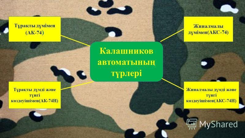 Калашников автоматының түрлері Жиналмалы дүмімен(АКС-74) Тұрақты дүмімен (АК-74 ) Тұрақты дүмді және түнгі көздеуішімен(АК-74Н) Жиналмалы дүмді және түнгі көздеуішімен(АКС-74Н)