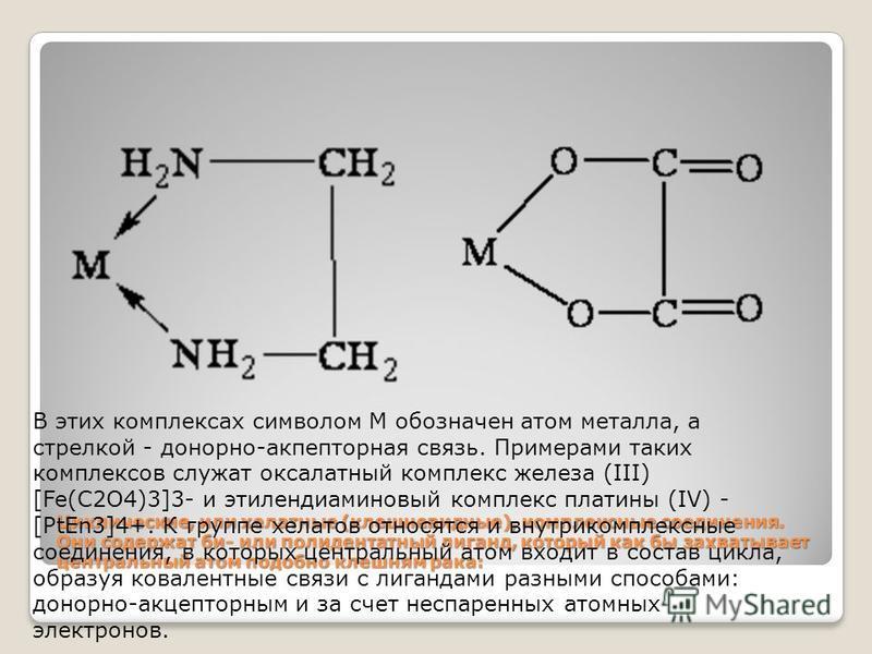 Циклические, или хелатные (клешневидные), комплексные соединения. Они содержат би- или полидентатный лиганд, который как бы захватывает центральный атом подобно клешням рака: В этих комплексах символом М обозначен атом металла, а стрелкой - донорно-а