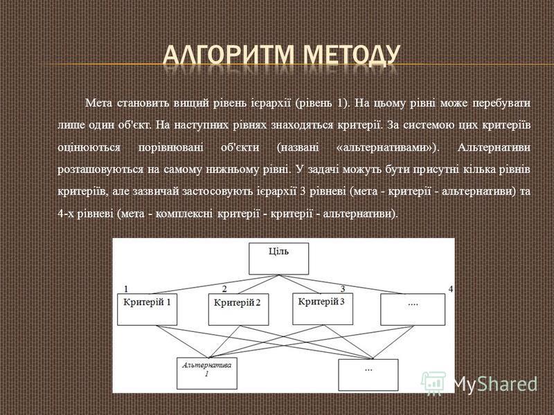 Мета становить вищий рівень ієрархії (рівень 1). На цьому рівні може перебувати лише один об'єкт. На наступних рівнях знаходяться критерії. За системою цих критеріїв оцінюються порівнювані об'єкти (названі «альтернативами»). Альтернативи розташовують