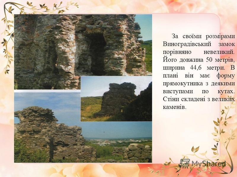 За своїми розмірами Виноградівський замок порівняно невеликий. Його довжина 50 метрів, ширина 44,6 метри. В плані він має форму прямокутника з деякими виступами по кутах. Стіни складені з великих каменів.