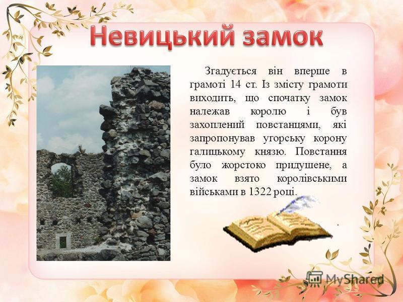 Згадується він вперше в грамоті 14 ст. Із змісту грамоти виходить, що спочатку замок належав королю і був захоплений повстанцями, які запропонував угорську корону галицькому князю. Повстання було жорстоко придушене, а замок взято королівськими військ