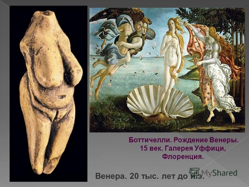 Венера. 20 тыс. лет до н.э. Боттичелли. Рождение Венеры. 15 век. Галерея Уффици, Флоренция.