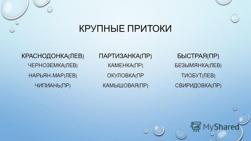 КРУПНЫЕ ПРИТОКИ КРАСНОДОНКА ( ЛЕВ ) ЧЕРНОЗЕМКА ( ЛЕВ ) НАРЬЯН - МАР ( ЛЕВ ) ЧИПИАНЬ ( ПР ) ПАРТИЗАНКА ( ПР ) КАМЕНКА ( ПР ) ОКУЛОВКА ( ПР КАМЫШОВАЯ ( ПР ) БЫСТРАЯ ( ПР ) БЕЗЫМЯНКА ( ЛЕВ ) ТИОБУТ ( ЛЕВ ) СВИРИДОВКА ( ПР )
