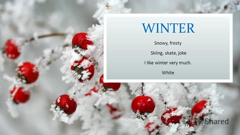 WINTER Snowy, frosty Skiing, skate, joke I like winter very much. White