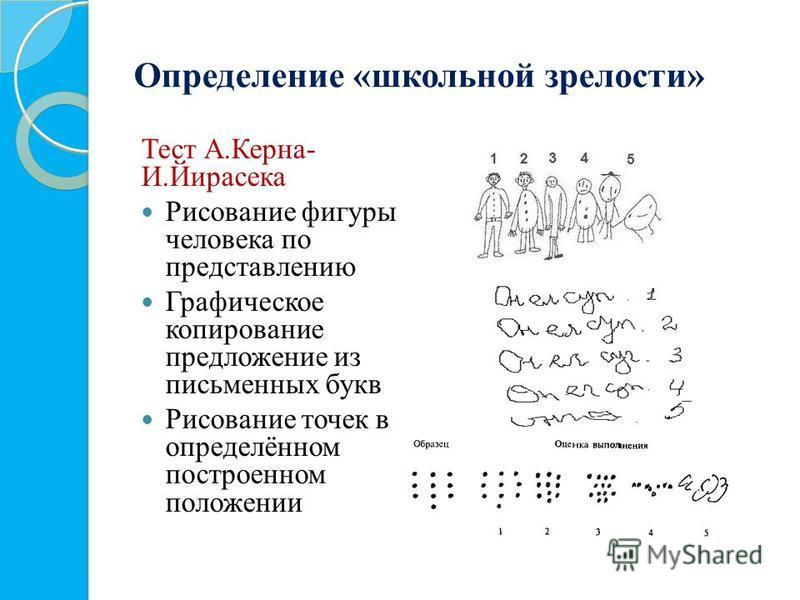Определение «школьной зрелости» Тест А.Керна- И.Йирасека Рисование фигуры человека по представлению Графическое копирование предложение из письменных букв Рисование точек в определённом построенном положении