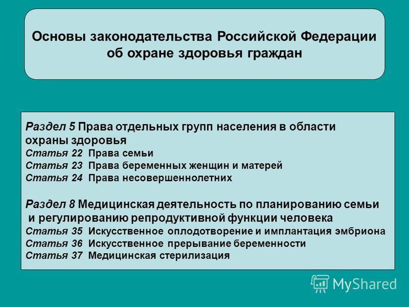 Основы законодательства Российской Федерации об охране здоровья граждан Раздел 5 Права отдельных групп населения в области охраны здоровья Статья 22 Права семьи Статья 23 Права беременных женщин и матерей Статья 24 Права несовершеннолетних Раздел 8 М