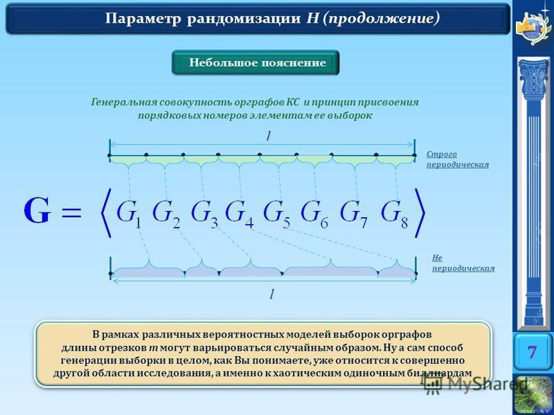 7 Параметр рандомизации H (продолжение) Небольшое пояснение В рамках различных вероятностных моделей выборок орграфов длины отрезков m могут варьироваться случайным образом. Ну а сам способ генерации выборки в целом, как Вы понимаете, уже относится к