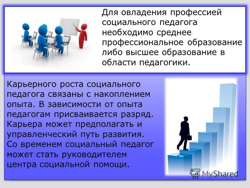 Для овладения профессией социального педагога необходимо среднее профессиональное образование либо высшее образование в области педагогики. Карьерного роста социального педагога связаны с накоплением опыта. В зависимости от опыта педагогам присваивае