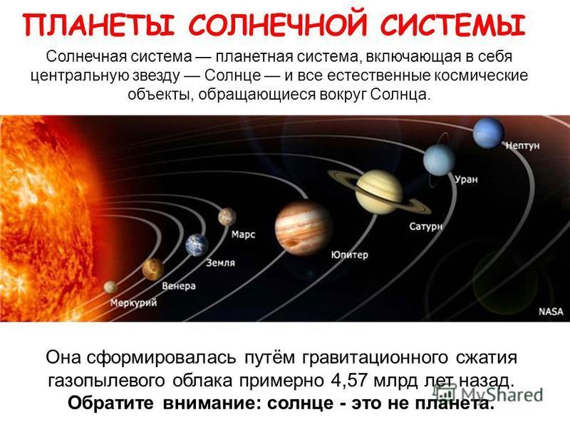 ПЛАНЕТЫ СОЛНЕЧНОЙ СИСТЕМЫ Солнечная система планетная система, включающая в себя центральную звезду Солнце и все естественные космические объекты, обращающиеся вокруг Солнца. Она сформировалась путём гравитационного сжатия газопылевого облака примерн