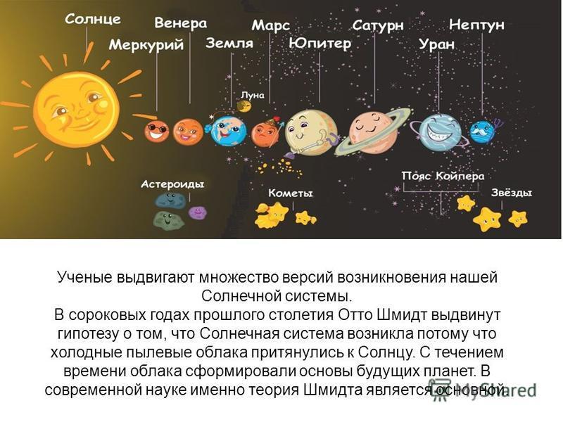 Ученые выдвигают множество версий возникновения нашей Солнечной системы. В сороковых годах прошлого столетия Отто Шмидт выдвинут гипотезу о том, что Солнечная система возникла потому что холодные пылевые облака притянулись к Солнцу. С течением времен
