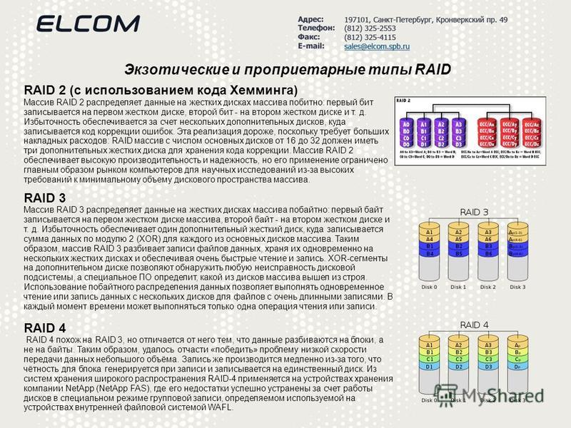 Экзотические и проприетарные типы RAID RAID 2 (с использованием кода Хемминга) Массив RAID 2 распределяет данные на жестких дисках массива побитно: первый бит записывается на первом жестком диске, второй бит - на втором жестком диске и т. д. Избыточн