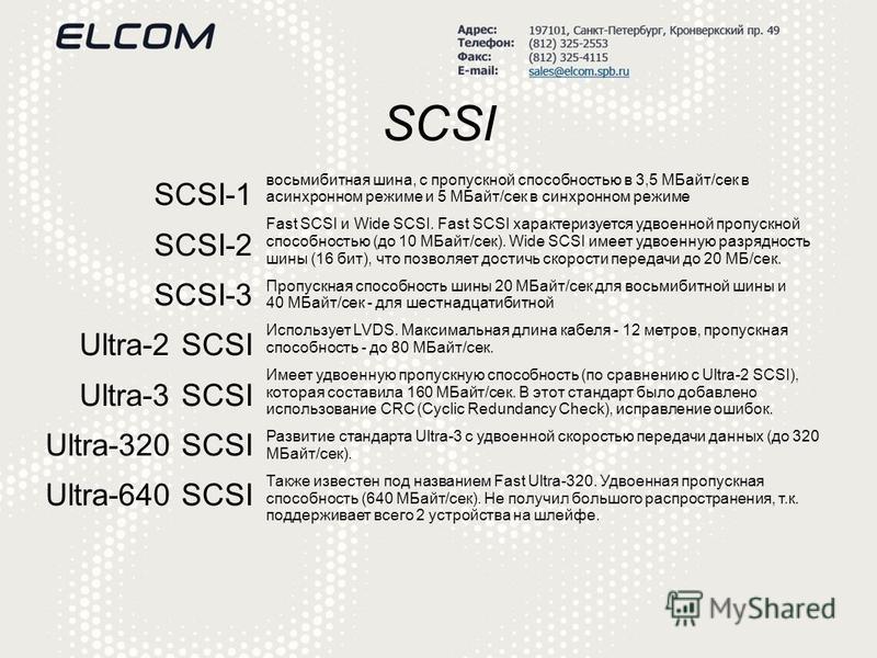 SCSI SCSI-1 SCSI-2 SCSI-3 Ultra-2 SCSI Ultra-3 SCSI Ultra-320 SCSI Ultra-640 SCSI восьмибитная шина, с пропускной способностью в 3,5 МБайт/сек в асинхронном режиме и 5 МБайт/сек в синхронном режиме Fast SCSI и Wide SCSI. Fast SCSI характеризуется удв