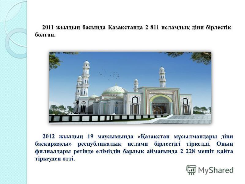 2011 жылдың басында Қазақстанда 2 811 исламдық діни бірлестік болған. 2011 жылдың басында Қазақстанда 2 811 исламдық діни бірлестік болған. 2012 жылдың 19 маусымында «Қазақстан мұсылмандары діни басқармасы» республикалық ислами бірлестігі тіркелді. О