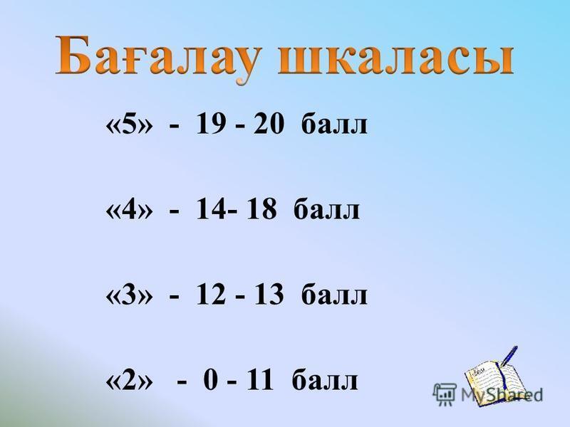 «5» - 19 - 20 балл «4» - 14- 18 балл «3» - 12 - 13 балл «2» - 0 - 11 балл